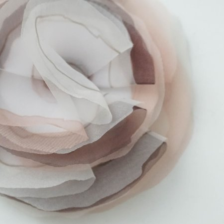 Peserico Tonal Floral Brooch - Cool Taupe