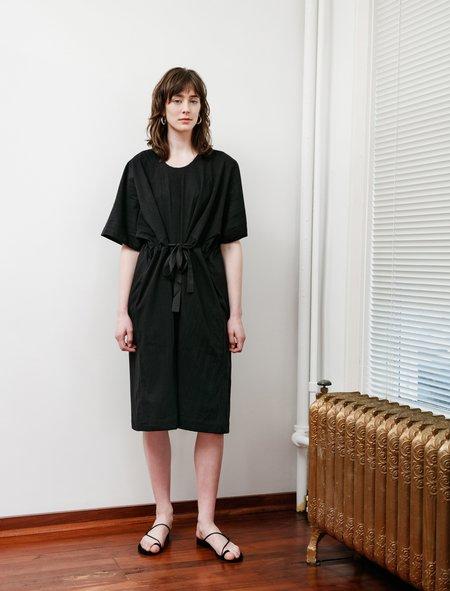 Y's by Yohji Yamamoto Cinched Sides Jersey Dress - black