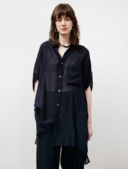 Ys by Yohji Yamamoto Cotton Gauze Maxi Shirt - Navy