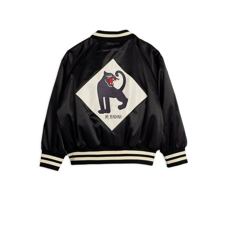 kids mini rodini panther baseball jacket - black