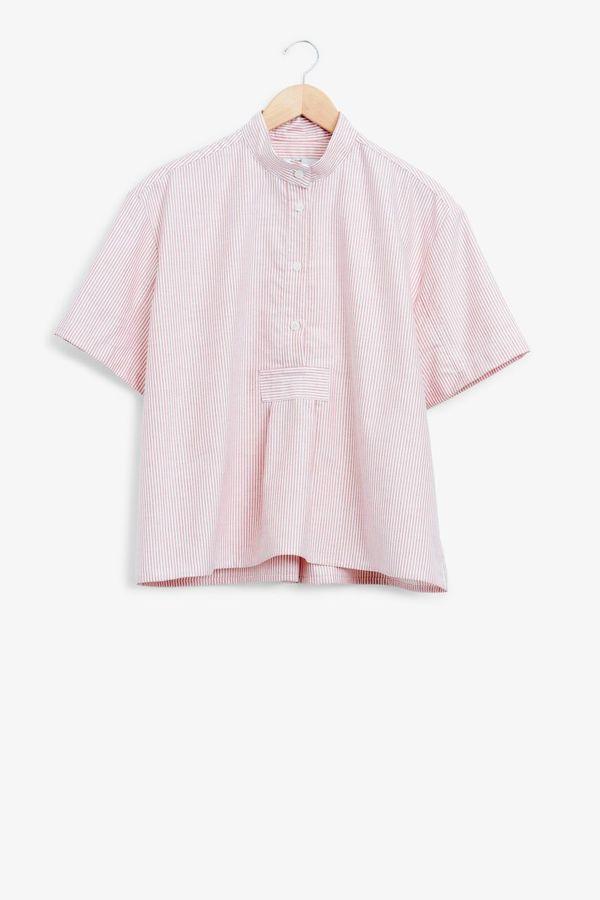 The Sleep Shirt Short Sleeve Cropped Sleep Shirt Red Oxford Stripe