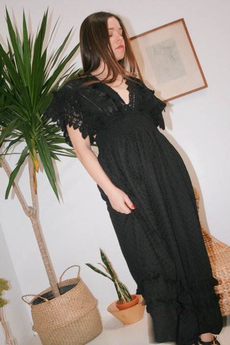 Place Nationale Vintage Inspired Embroidered Kaftan Dress - Black