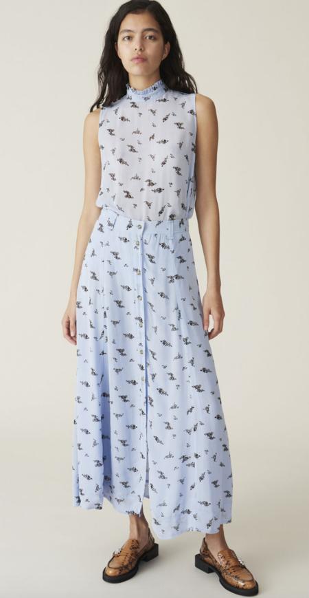 Ganni Printed Georgette Skirt - Brunnera Blue