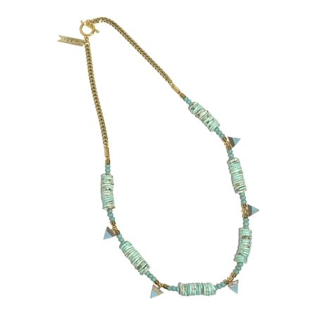 Marijke Bouchier Turquoise Triangles Necklace - Mixed media/Brass/Faux Turquoise
