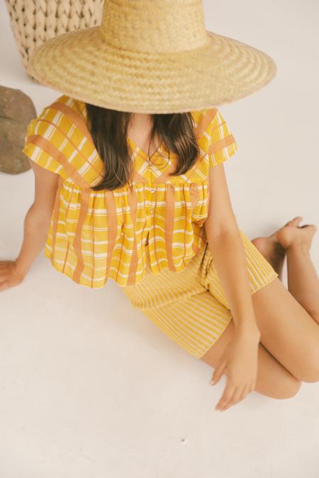Kordal Plaited Bike Shorts in Saffron/Cream