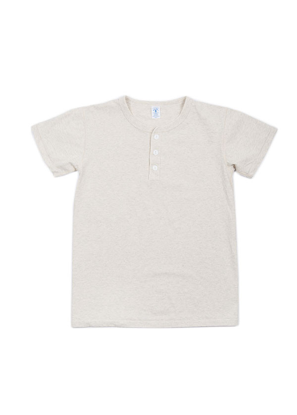 Velva Sheen - Men's Short Sleeve Henley Tee in Heather Oatmeal
