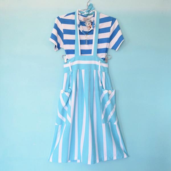 Turquoise & White Skirt w/ Halter Strap