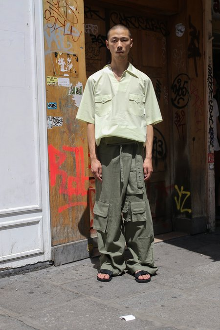 ST-HENRI Cotton Twill Utility Wrap Pants - Olive