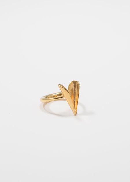 MIRIT WEINSTOCK petite folded heart ring - gold