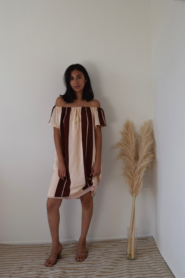 BETWEEN TEN Beverly Dress - Pink Silk Stripe