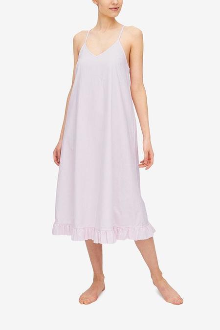 The Sleep Shirt Flared Ruffle Nightie - Pink Oxford Stripe