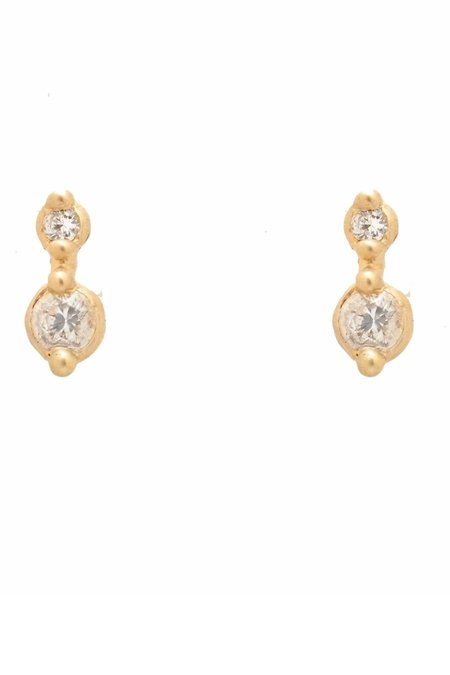 Valley Rose Diana White Sapphire Earrings - Yellow Gold