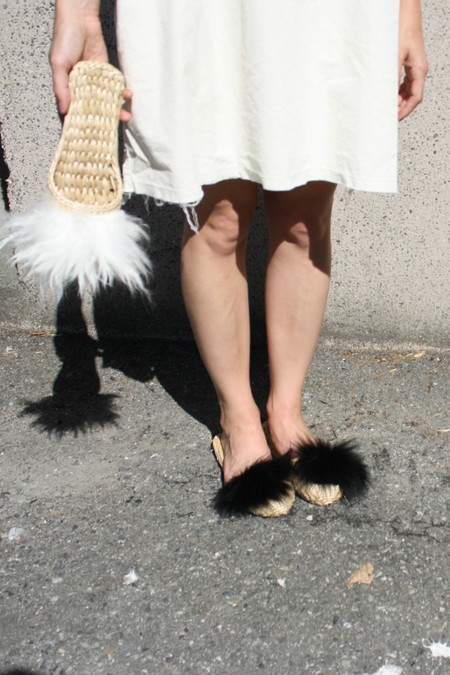 FOLK FORTUNE BLACK FUR SLIPPER