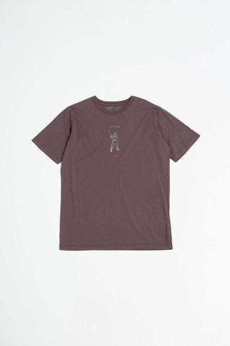 Universal Works Organic tee - beisbol print raisin