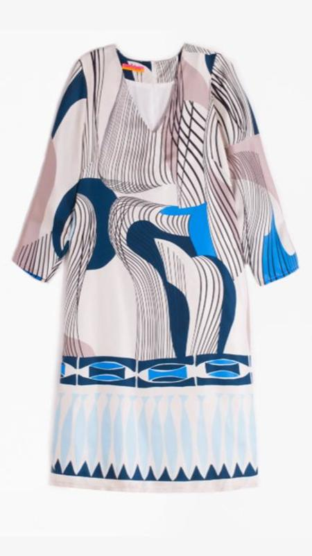 Vilagallo Silk Doris Dress - Como Blue Print