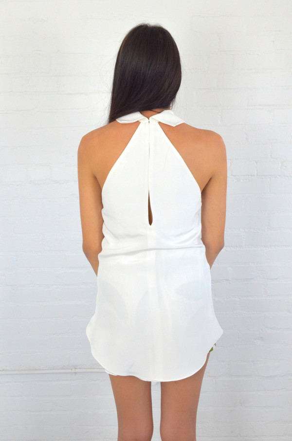 Christine Alcalay White Tall Collar Shirt