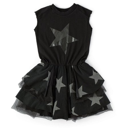 Kids nununu layered star tulle dress - black