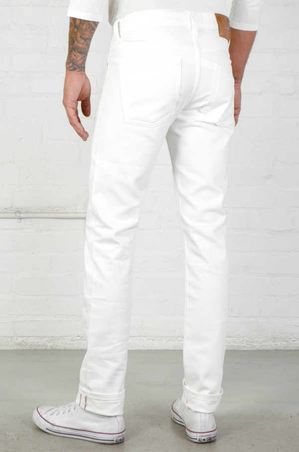 Men's Naked and Famous White Stretch Selvedge Super Skinny Guy