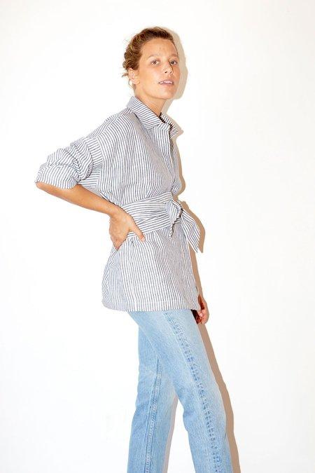 Datura Striped Linen Ren Shirt - Washed Black/White