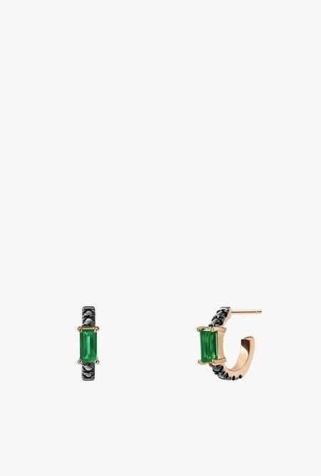 Selin Kent Nikita Huggie Hoops in Emerald and Black Diamonds