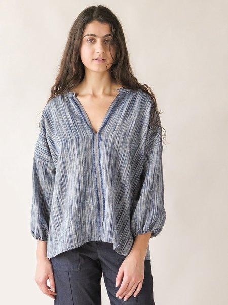 Erica Tanov patricia blouse - indigo sketch stripe
