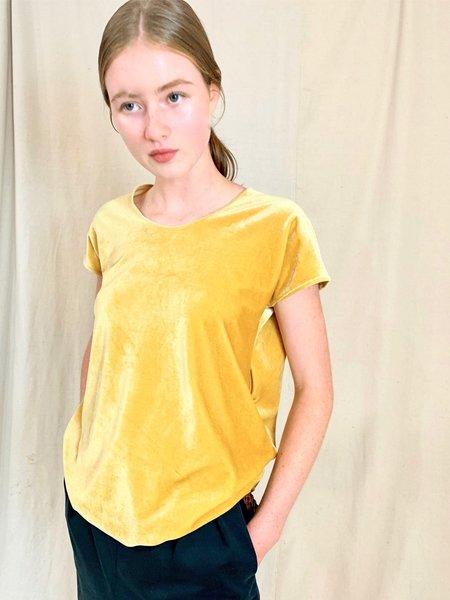 Anderst Dita asymmetric Open Back Top - Yellow velvet