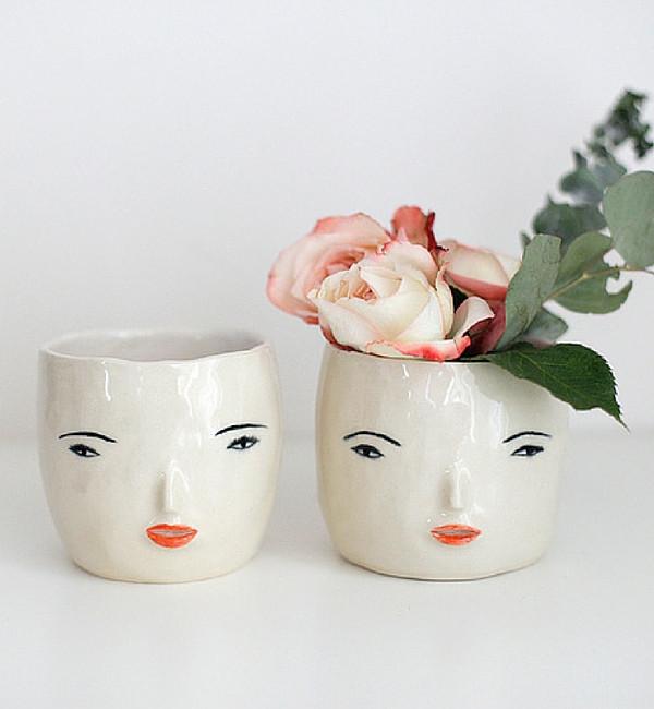Rami Kim Girl Face Pot White