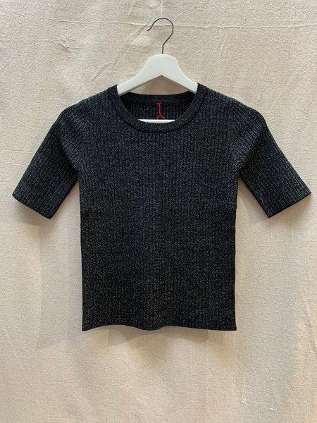 Le Bon Shoppe Lurex Top - Black Glitter