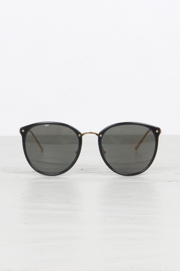 Linda Farrow Oversized Round Glasses in Black