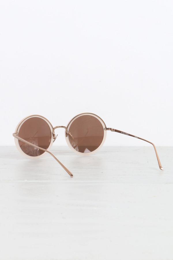 Linda Farrow Round Sunglasses in Milky Pink