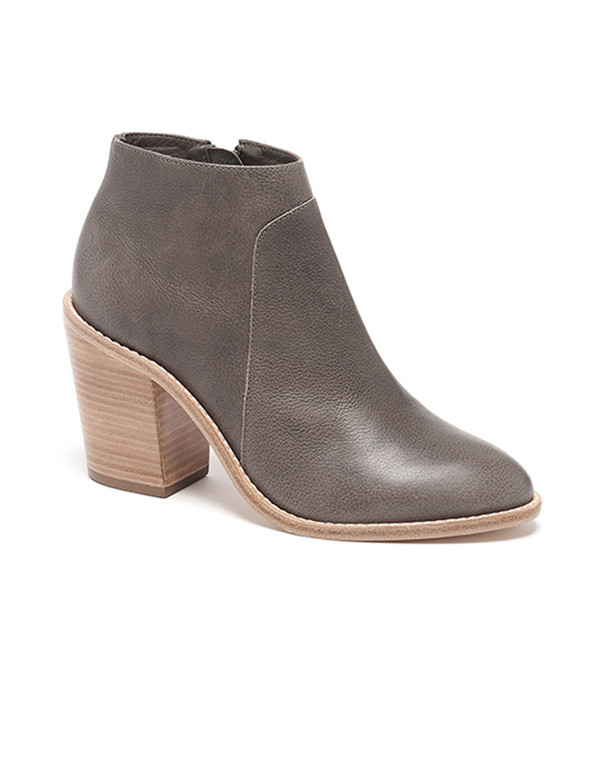 Loeffler Randall - Ella Stacked Heel Ankle Boot in Grey Leather