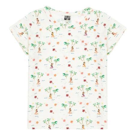 kids Bonton Child Tahiti Island Print T-shirt - White