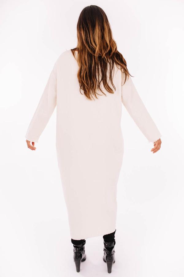 Black Crane Quilted Long Dress (Cream)