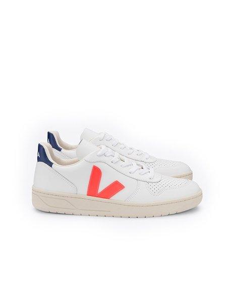 VEJA V-10 Leather Extra Shoes - White/Orange/Cobalt