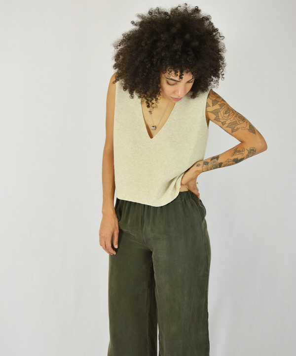 Ali Golden Knit V Neck Tank