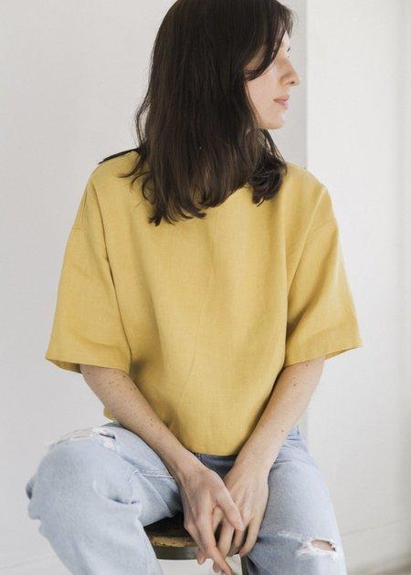 Symmetry and Grace Linen Crop - Marigold