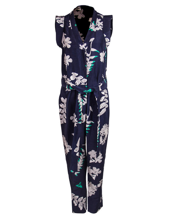 WHiT - Navy Tropical Print 'Palm' Jumpsuit