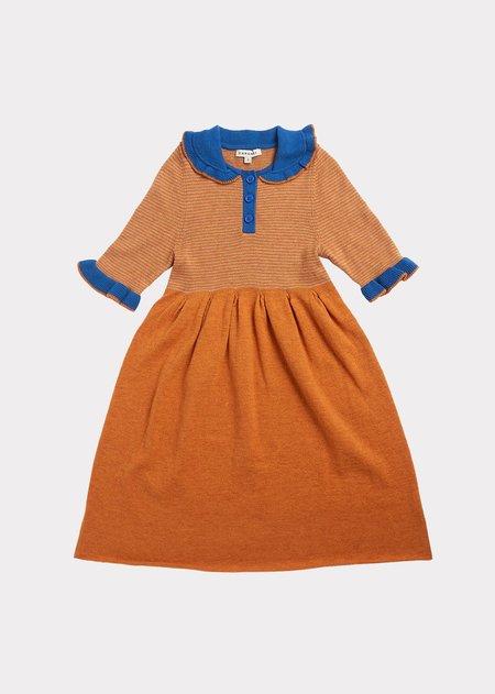 Kids Caramel Portobello Knitted Dress - Honey Stripe