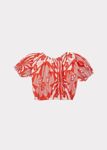 kids Caramel Queens Park Blouse - Red Flower Print