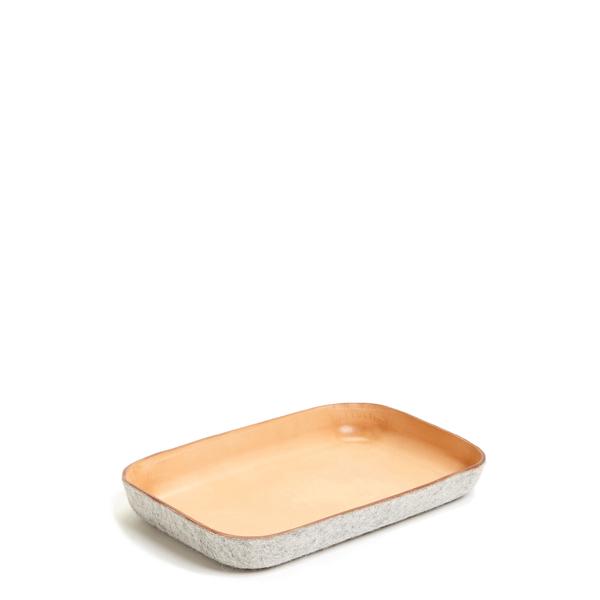 Unisex Graf & Lantz Small KAWABON Tan Leather & Granite Felt Tray