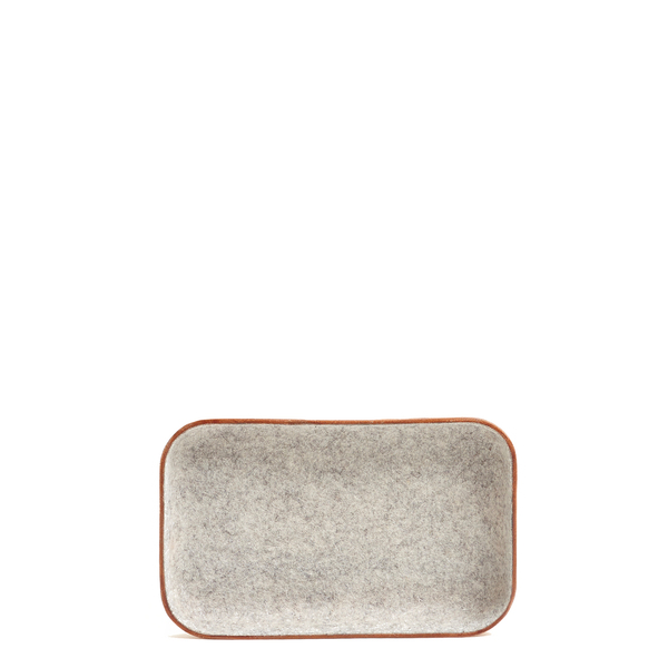Unisex Graf & Lantz Small KAWABON Granite Felt & Tan Leather Tray