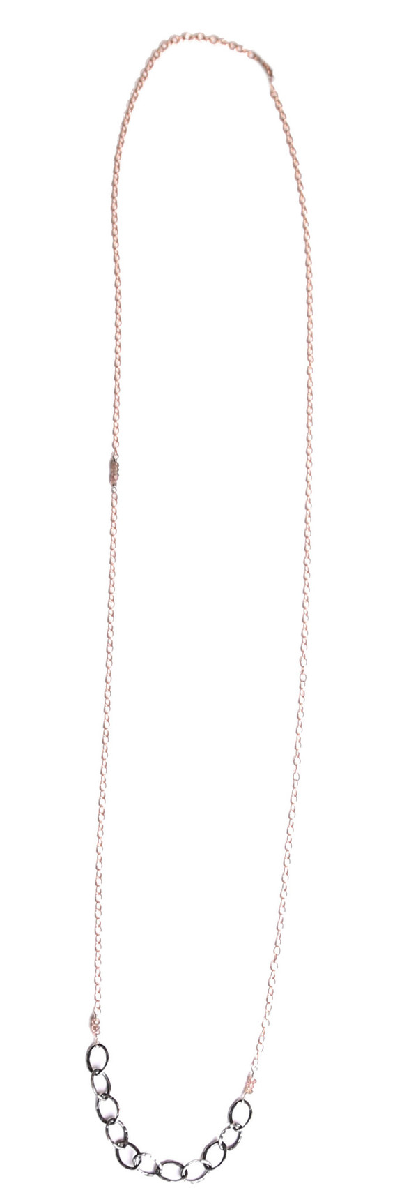 Sarah Dunn Rose Gold Oxidized Chain Links Necklace