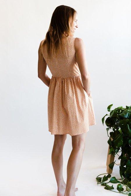 Batsheva Sleeveless Mini Prairie Dress - Peach Floral