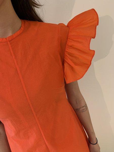 Beaufille Dorado Ruffle Sleeve Crepe Dress