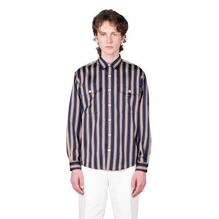 Schnayderman's Shirt Boxy Stripe - Navy / Rust / Sand