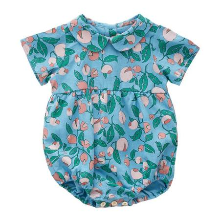 KIDS Oeuf NYC Baby Short Sleeved Floral Print Romper - Blue