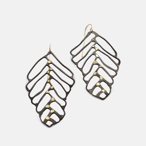 Amy Nordstrom Leaf Earrings Black Silver & 18K