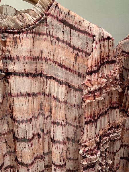 Ulla Johnson silk chiffon tie dye mari blouse - blush pink