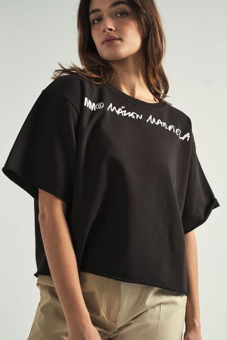 Maison Margiela Short Sleeve Logo Sweatshirt - black