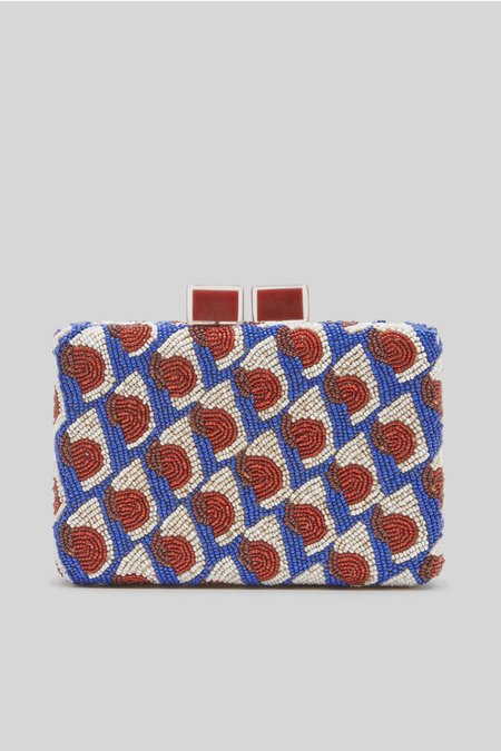 Maliparmi Handbeaded Dot Clutch - Blue / Red